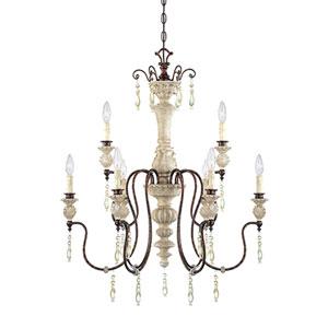 Denise Antique White and Bronze Nine-Light Chandelier Ceiling Light