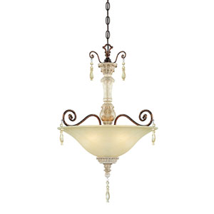 Denise Antique White and Bronze Three-Light Pendant
