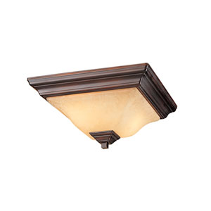 Euro Bronze Two-Light Flush Mount with Turinian Scavo Glass