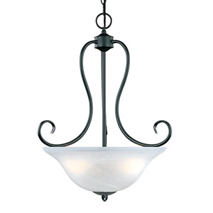 Main Street Black Three-Light Pendant with Faux Alabaster Glass
