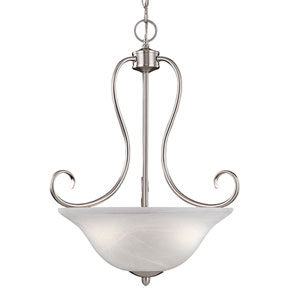 Main Street Satin Nickel Three-Light Pendant with Faux Alabaster Glass