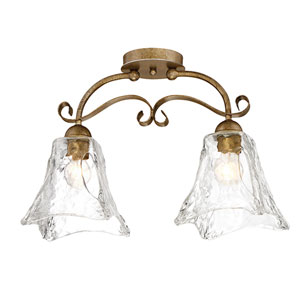 Chatsworth Vintage Gold Two-Light Semi Flush