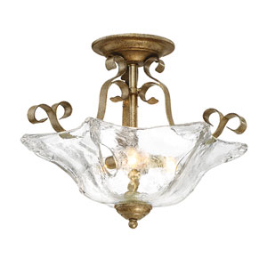 Chatsworth Vintage Gold Three-Light Semi Flush