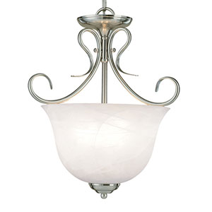 Satin Nickel Three-Light Pendant with Faux Alabaster Glass