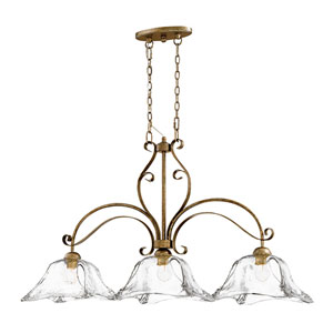 Chatsworth Vintage Gold Three-Light Island Pendant