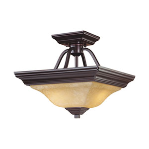 Euro Bronze Two-Light Semi-Flush with Turinian Scavo Glass