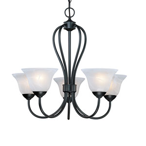 Main Street Black Five-Light Chandelier with Faux Alabaster Glass