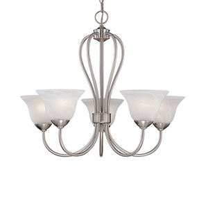 Main Street Satin Nickel Five-Light Chandelier with Faux Alabaster Glass