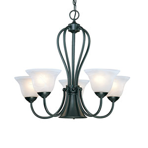 Main Street Black Six-Light Chandelier with Faux Alabaster Glass