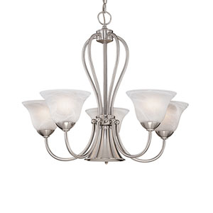Main Street Satin Nickel Six-Light Chandelier with Faux Alabaster Glass