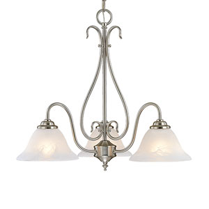 Satin Nickel Three-Light Chandelier with Faux Alabaster Glass