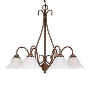 Bronze Six-Light Chandelier with Faux Alabaster Glass