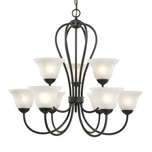 Main Street Black Nine-Light Chandelier with Faux Alabaster Glass