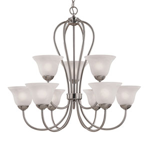 Main Street Satin Nickel Nine-Light Chandelier with Faux Alabaster Glass