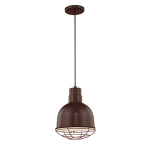 R Series Architectural Bronze 10-Inch Outdoor Cord Pendant with Wire Guard