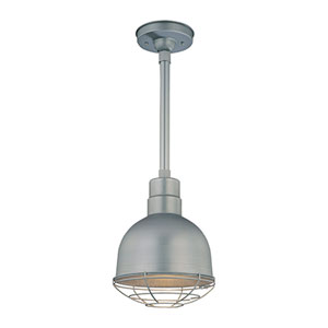 R Series Galvanized 10-Inch Outdoor Pendant with 12-Inch Stem and Wire Guard