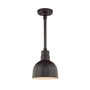 R Series Satin Black 10-Inch Outdoor Pendant with 24-Inch Stem