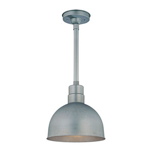 R Series Galvanized 12-Inch Outdoor Pendant with 24-Inch Stem