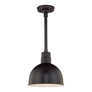 R Series Satin Black 12-Inch Outdoor Pendant with 12-Inch Stem