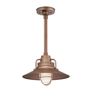 R Series Copper 14-Inch Outdoor Railroad Pendant with 24-Inch Stem