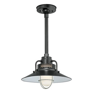 R Series Satin Black 14-Inch Outdoor Railroad Pendant with 12-Inch Stem