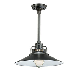 R Series Satin Black 18-Inch Outdoor Railroad Pendant with 36-Inch Stem