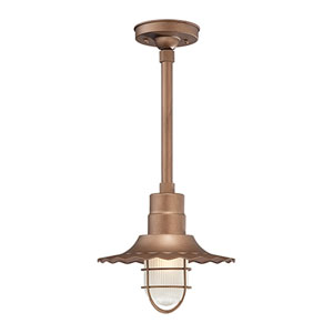 R Series Copper 12-Inch Outdoor Radial Wave Pendant with 24-Inch Stem