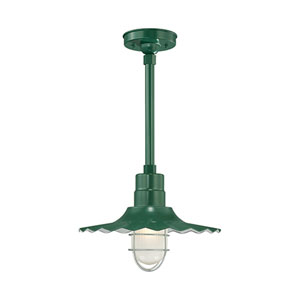 R Series Satin Green 15-Inch Outdoor Radial Wave Pendant with 12-Inch Stem