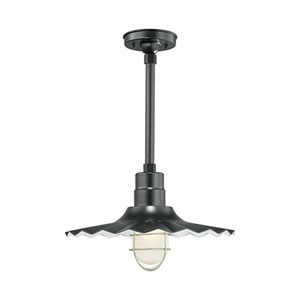 R Series Satin Black 18-Inch Outdoor Radial Wave Pendant with 36-Inch Stem