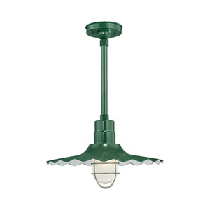 R Series Satin Green 18-Inch Outdoor Radial Wave Pendant with 36-Inch Stem