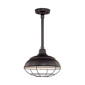 R Series Satin Black 14-Inch Warehouse Outdoor Pendant with 12-Inch Stem and Wire Guard