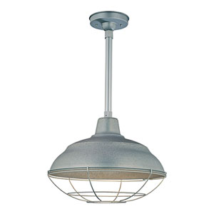 R Series Galvanized 17-Inch Warehouse Outdoor Pendant with 24-Inch Stem and Wire Guard