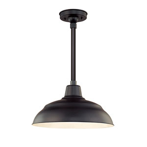R Series Satin Black 17-Inch Warehouse Outdoor Pendant with 24-Inch Stem