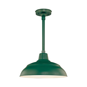 R Series Satin Green 17-Inch Warehouse Outdoor Pendant with 24-Inch Stem