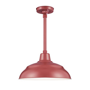 R Series Satin Red 17-Inch Warehouse Outdoor Pendant with 24-Inch Stem