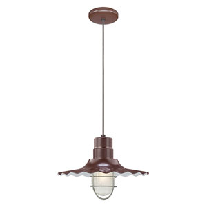 R Series Architectural Bronze 15-Inch Outdoor Cord Radial Wave Pendant