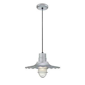 R Series Galvanized 15-Inch Outdoor Cord Radial Wave Pendant
