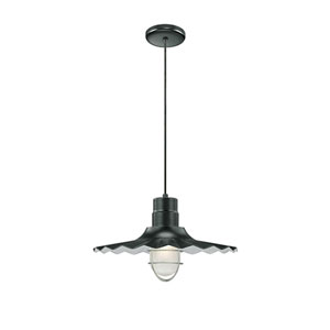 R Series Satin Black 18-Inch Outdoor Cord Radial Wave Pendant