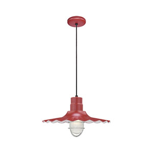 R Series Satin Red 18-Inch Outdoor Cord Radial Wave Pendant