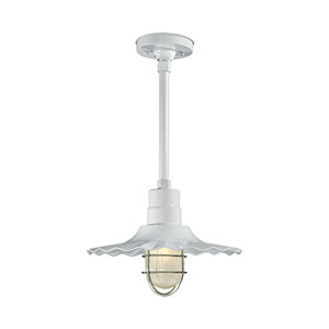 R Series White 15-Inch Outdoor Radial Wave Pendant Shade Only