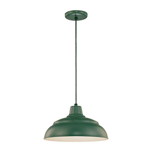 R Series Satin Green 14-Inch Warehouse Cord Hung Outdoor Pendant