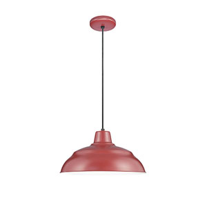 R Series Satin Red 14-Inch Warehouse Cord Hung Outdoor Pendant