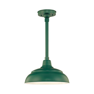 R Series Satin Green 14-Inch Warehouse Outdoor Pendant Shade Only