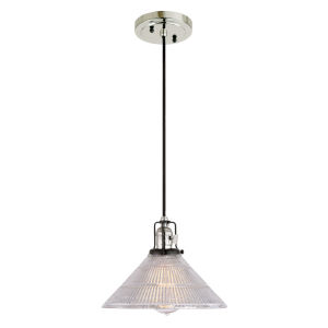 Nob Hill Bailey Polished Nickel and Black One-Light Pendant with Mercury Glass