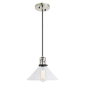 Nob Hill Bailey Polished Nickel and Black One-Light Pendant