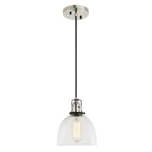 Nob Hill Bailey Polished Nickel and Black One-Light Mini Pendant with Clear Bubble Glass