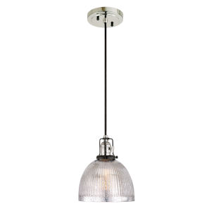 Nob Hill Bailey Polished Nickel and Black One-Light Mini Pendant with Mercury Glass