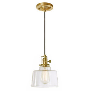 Union Square Satin Brass Clear Glass Seven-Inch One-Light Mini Pendant