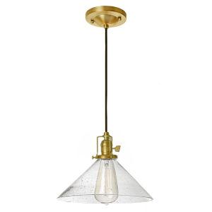 Union Square Satin Brass Clear Bubble Glass 10-Inch One-Light Pendant