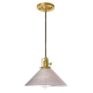 Union Square Satin Brass Mercury Pressed 10-Inch One-Light Pendant